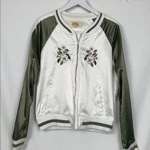 Ashley olive green/ white bomber jacket size XL